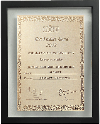 Best Product Award 2003 – (Brahim's – Rendang) MIFT