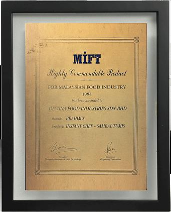 Best Product Award (Brahim's-Kuah Sambal Tumis) 1994, MIFT