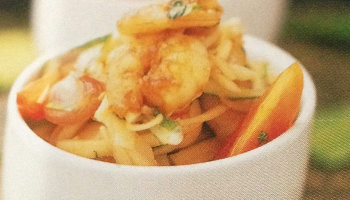 Honey Prawns And Mango Kerabu