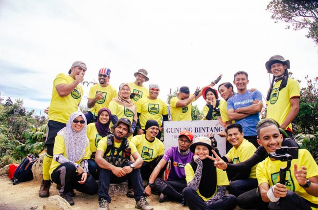 Participants at the peak of Gunung Bintang Kedah